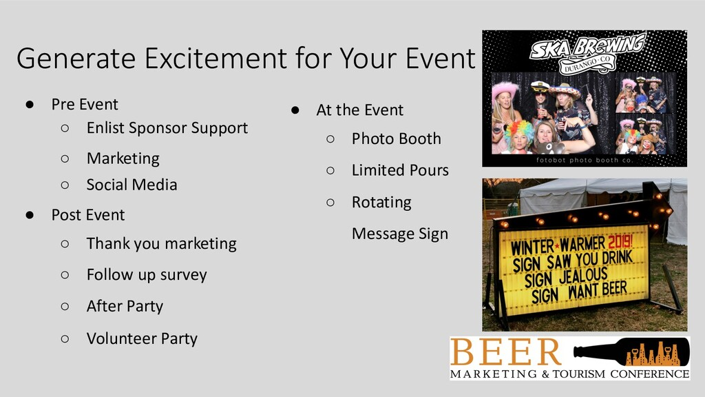 Generate Excitement for Your Event ● Pre Event ...