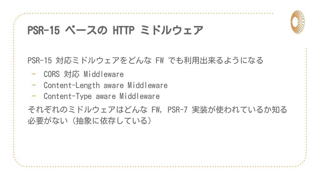 PSR-15 ベースの HTTP ミドルウェア PSR-15 対応ミドルウェアをどんな FW ...