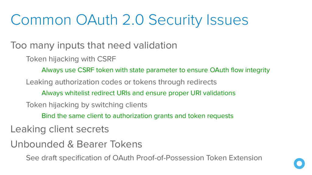 Common OAuth 2.0 Security Issues Too many input...