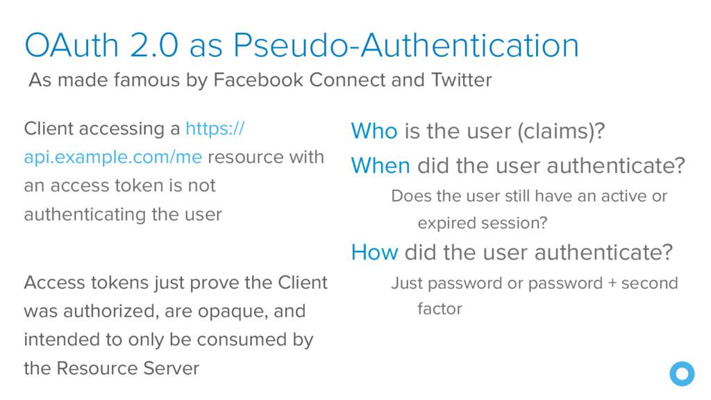 OAuth 2.0 as Pseudo-Authentication Client acces...