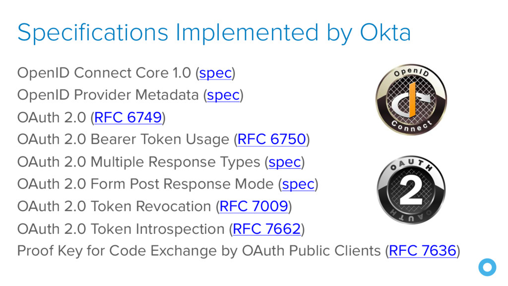 Specifications Implemented by Okta OpenID Conne...