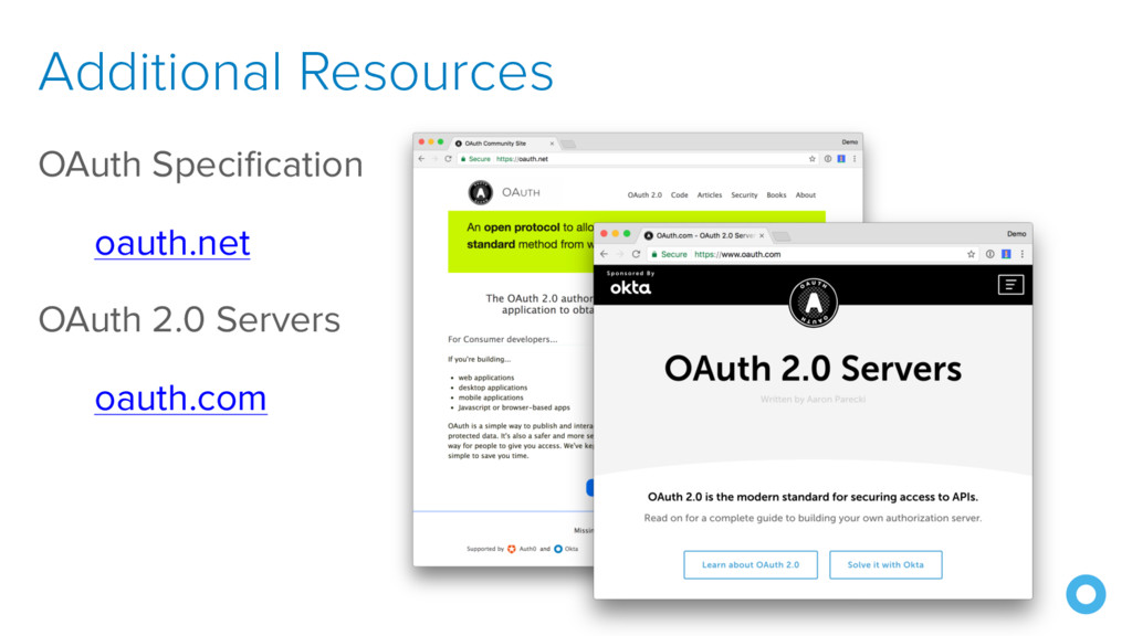 OAuth Specification oauth.net OAuth 2.0 Servers...