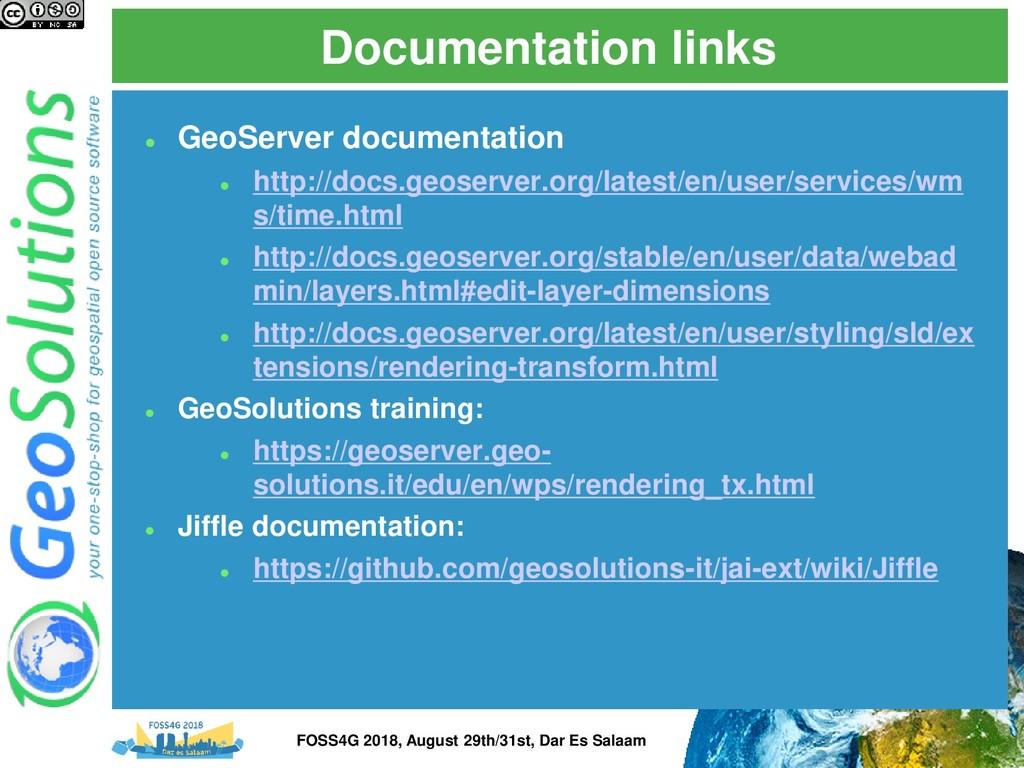 Documentation links ⚫ GeoServer documentation ⚫...