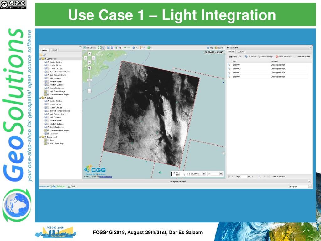Use Case 1 – Light Integration FOSS4G 2018, Aug...