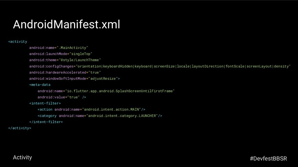 """AndroidManifest.xml <activity android:name="""".Ma..."""