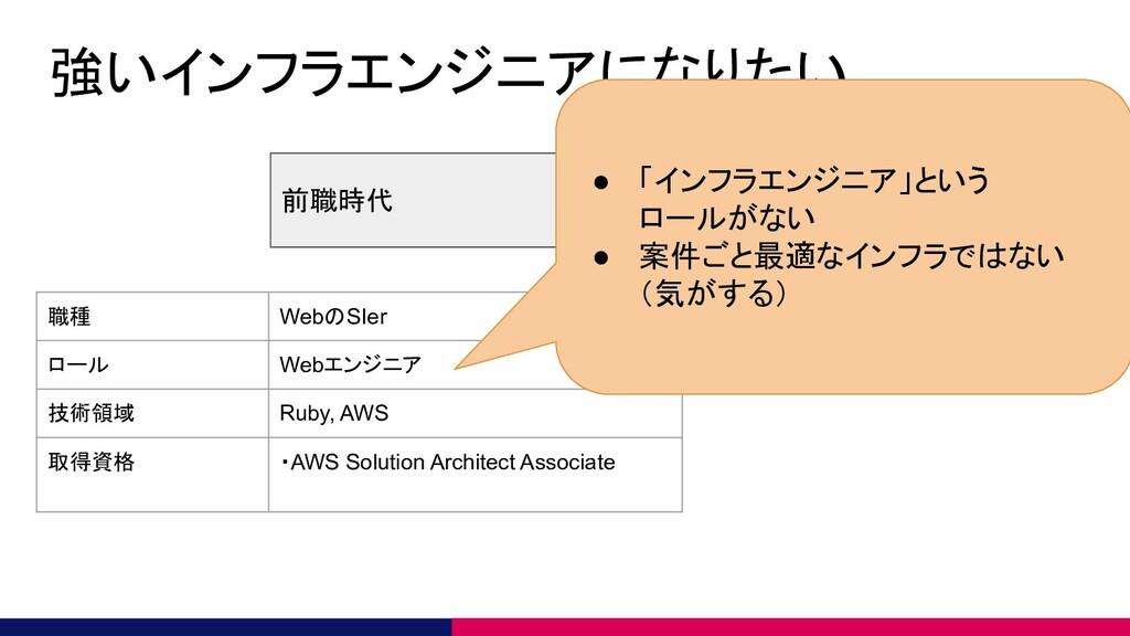 強いインフラエンジニアになりたい 前職時代 現在 職種 WebのSIer ロール Webエンジ...
