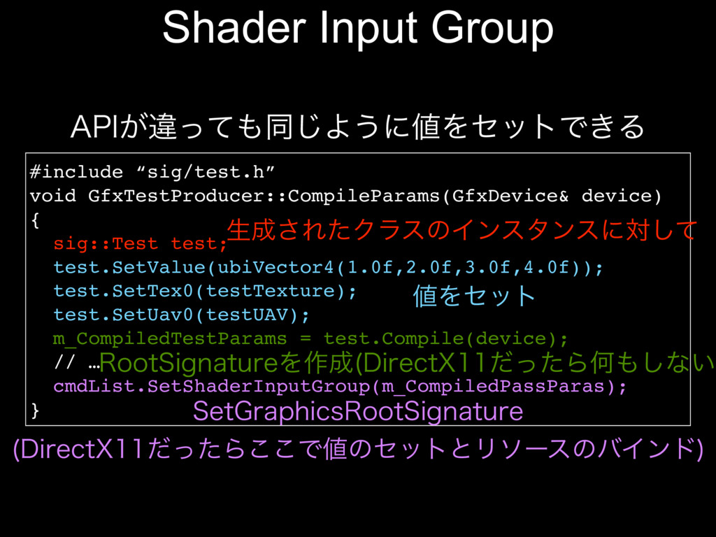 "Shader Input Group #include ""sig/test.h"" void G..."