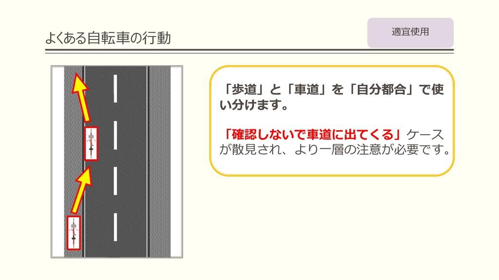 よくある⾃転⾞の⾏動 「歩道」と「⾞道」を「⾃分都合」で使 い分けます。 「確認しないで⾞道に...