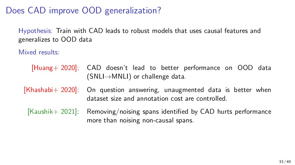 Does CAD improve OOD generalization? Hypothesis...