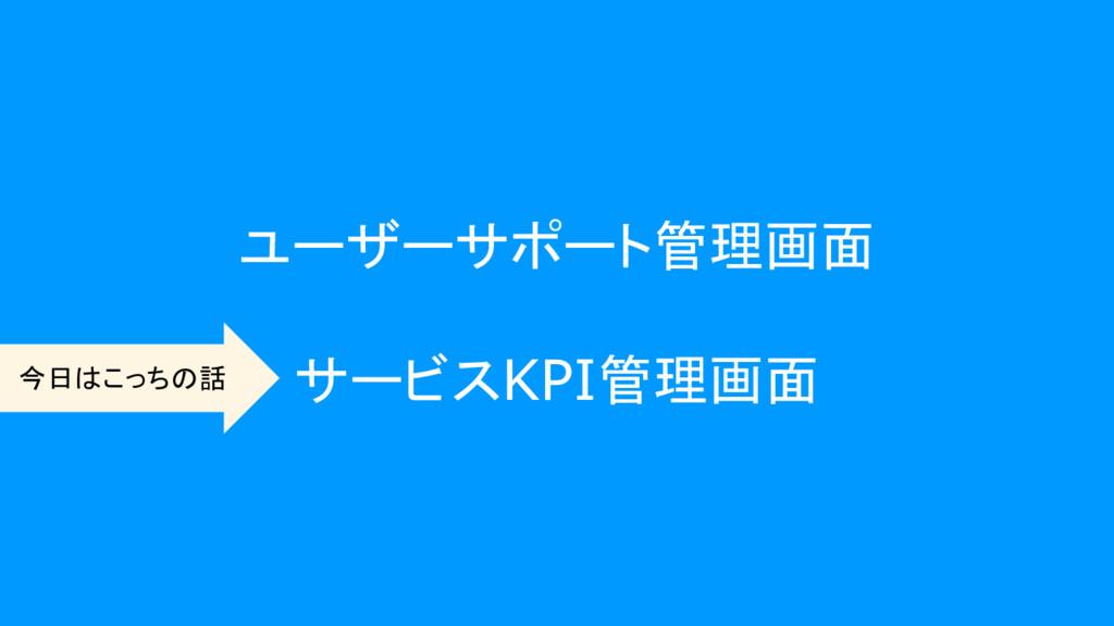 ユーザーサポート管理画面 サービスKPI管理画面 今日はこっちの話