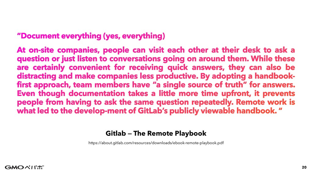 "Gitlab — The Remote Playbook ""Document everythi..."