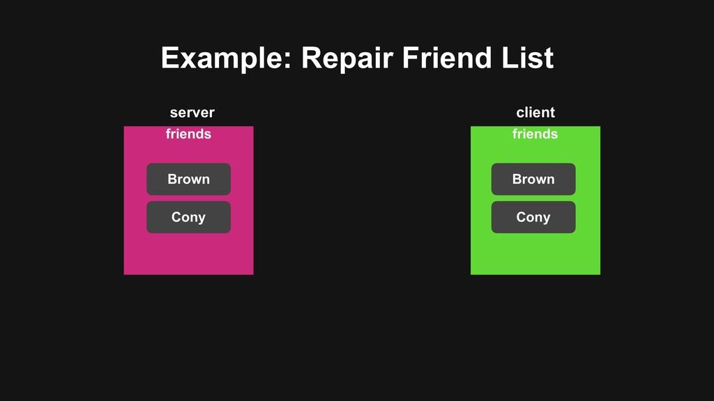 Example: Repair Friend List friends Brown Cony ...