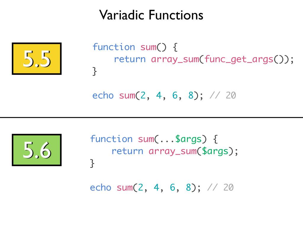 Variadic Functions 5.5 function sum() { return ...