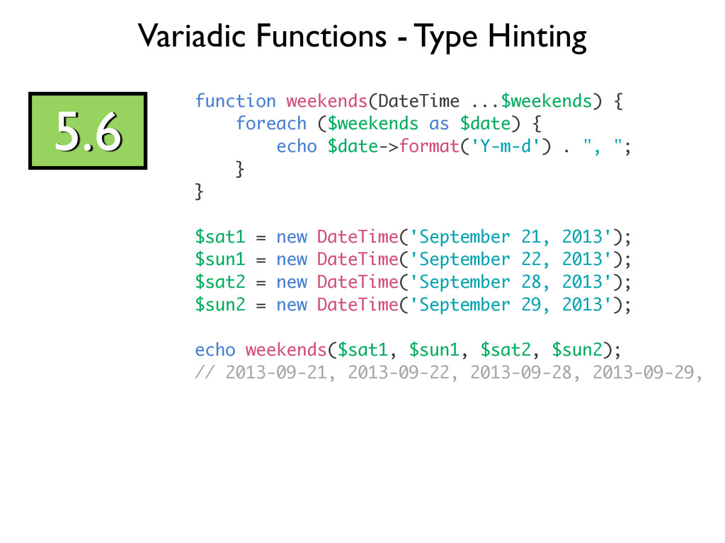 Variadic Functions - Type Hinting 5.6 function ...