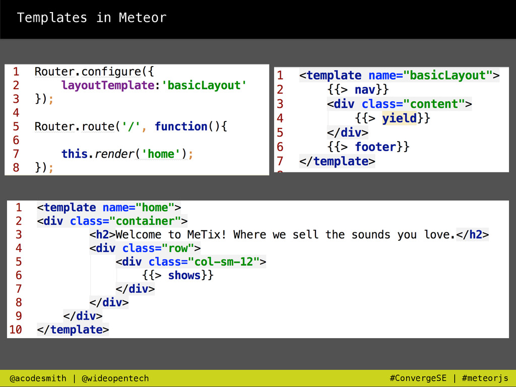 Templates in Meteor @acodesmith   @wideopentech...