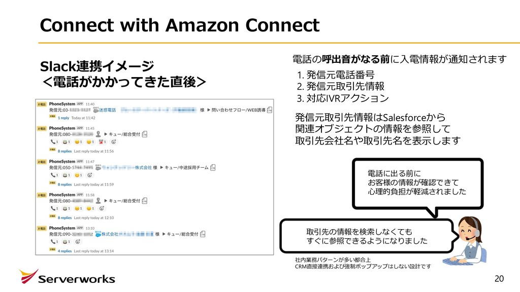 20 Connect with Amazon Connect 電話の呼出⾳がなる前に⼊電情報が...