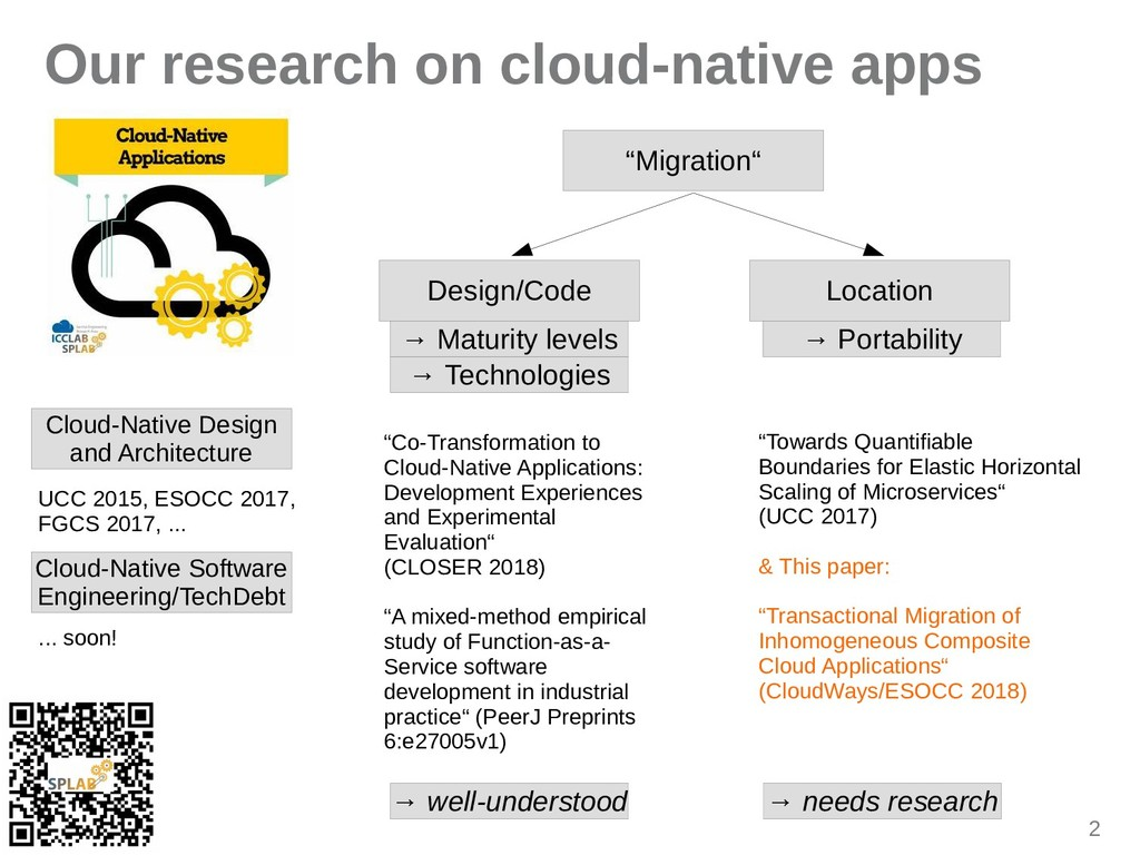 "2 Our research on cloud-native apps ""Migration""..."