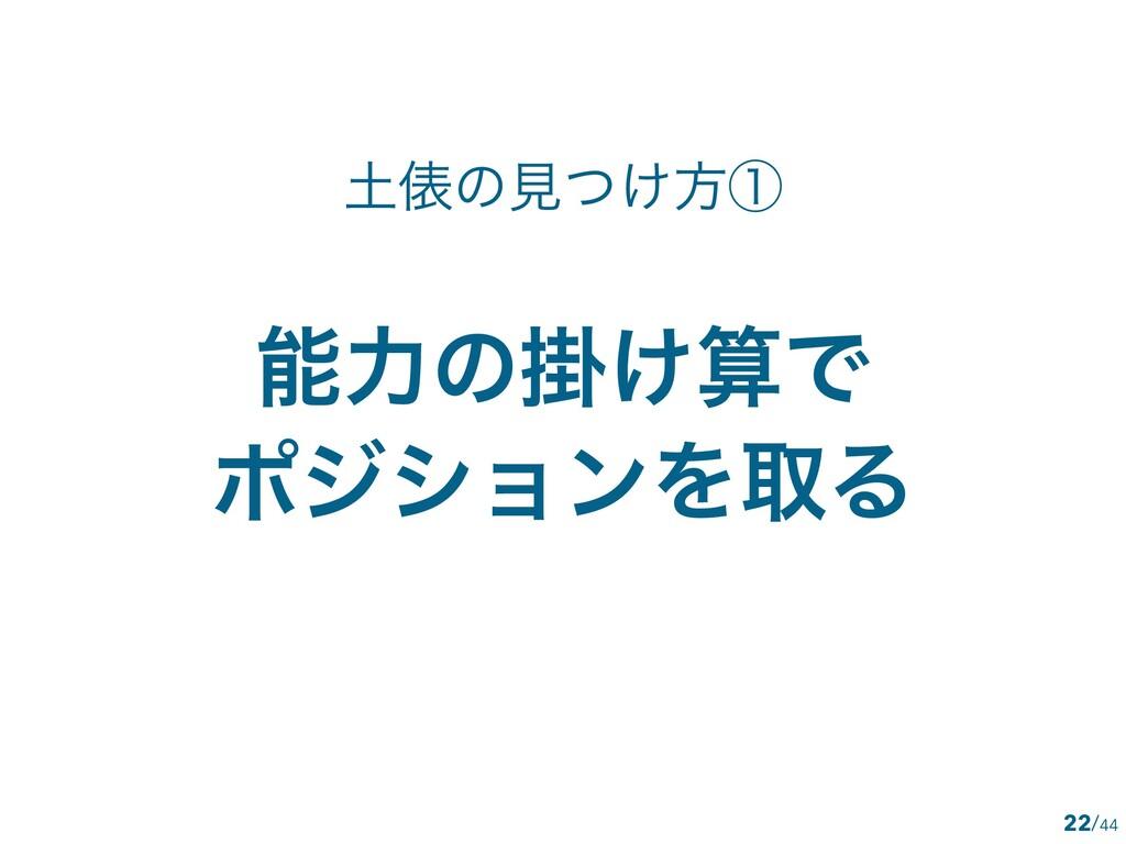 /44 ྗͷֻ͚Ͱ ϙδγϣϯΛऔΔ 22 ඨͷݟ͚ͭํᶃ