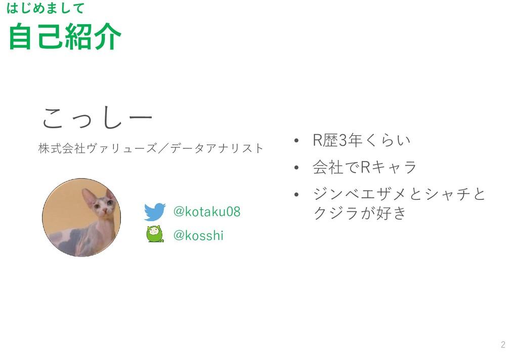 自己紹介 2 はじめまして こっしー 株式会社ヴァリューズ/データアナリスト @kotaku0...