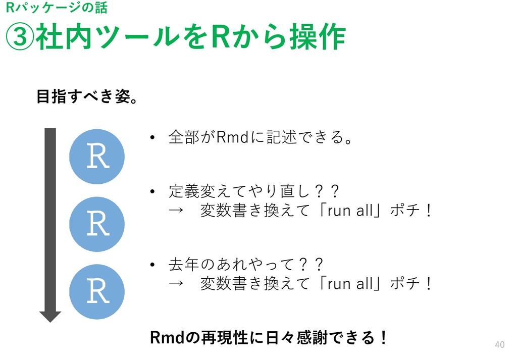 ③社内ツールをRから操作 40 Rパッケージの話 目指すべき姿。 • 全部がRmdに記述できる...