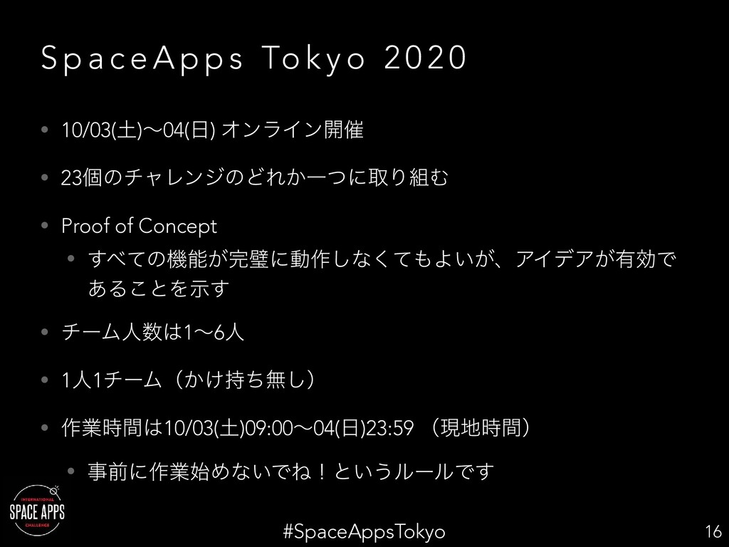 #SpaceAppsTokyo S p a c e A p p s To k y o 2 0 ...