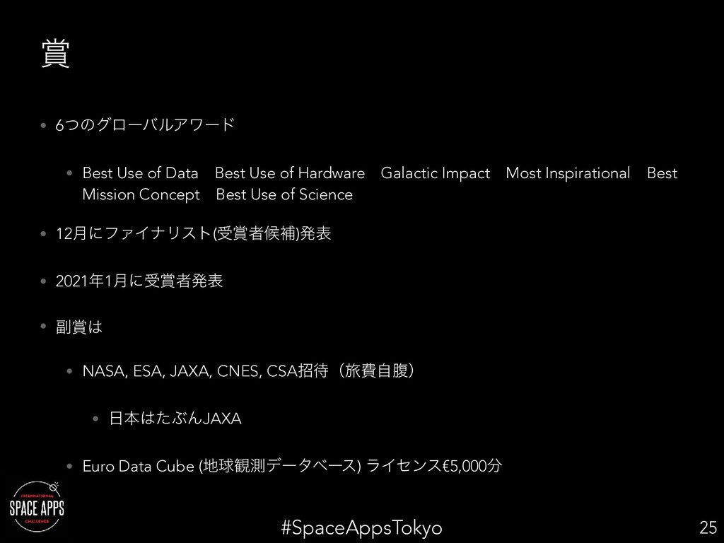 #SpaceAppsTokyo  • 6ͭͷάϩʔόϧΞϫʔυ • Best Use of ...