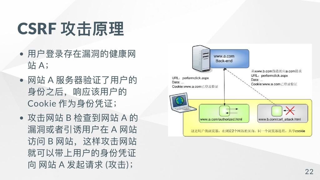 CSRF 攻击原理 ⽤户登录存在漏洞的健康⽹ 站 A ; ⽹站 A 服务器验证了⽤户的 身份之...