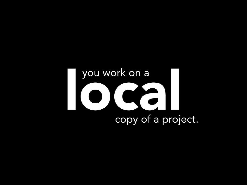 local copy of a project. you work on a