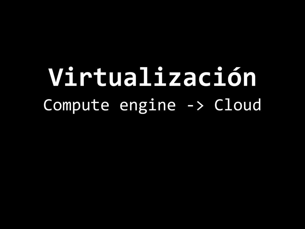 Virtualización Compute engine -> Cloud