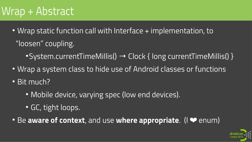 ● Wrap static function call with Interface + im...