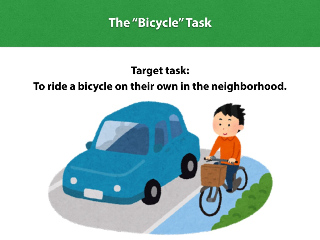 """The """"Bicycle"""" Task Target task: To ride a bicyc..."""