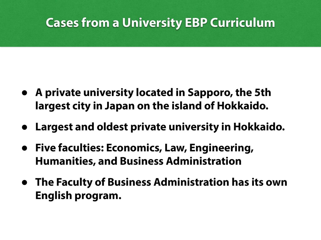 Cases from a University EBP Curriculum • A priv...