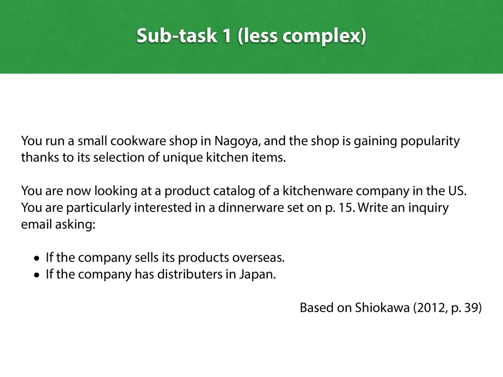 Sub-task 1 (less complex) You run a small cookw...