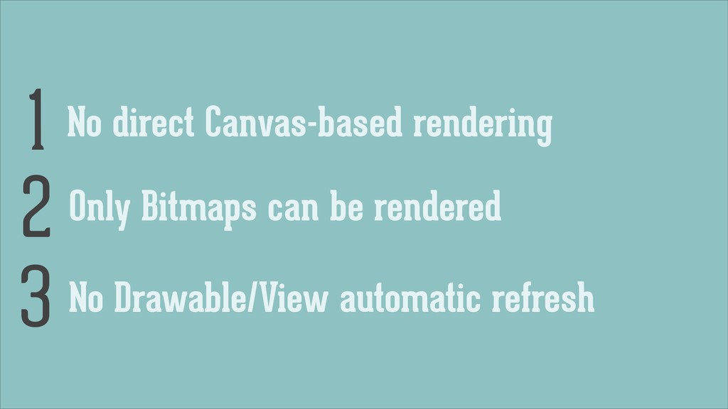 No direct Canvas-based rendering 1 Only Bitmaps...