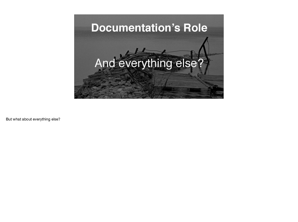 Documentation's Role And everything else? But w...