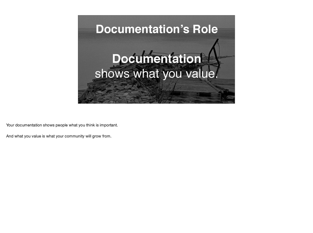 Documentation's Role Documentation shows what y...
