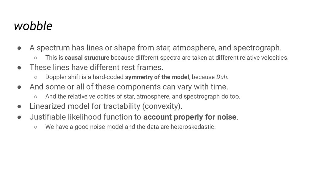 wobble ● A spectrum has lines or shape from sta...