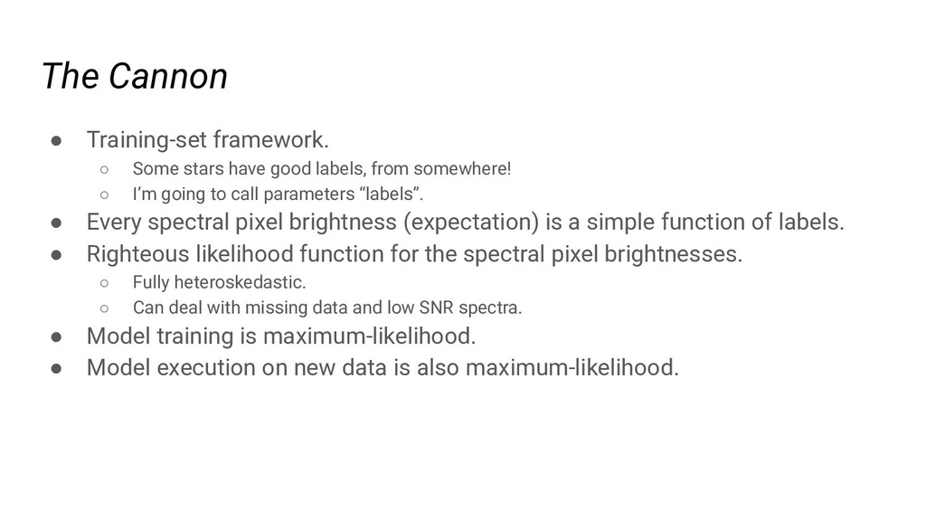 The Cannon ● Training-set framework. ○ Some sta...