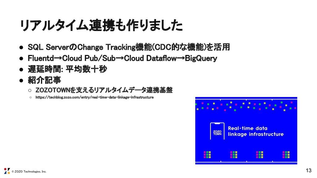 © ZOZO Technologies, Inc. リアルタイム連携も作りました ● SQL...