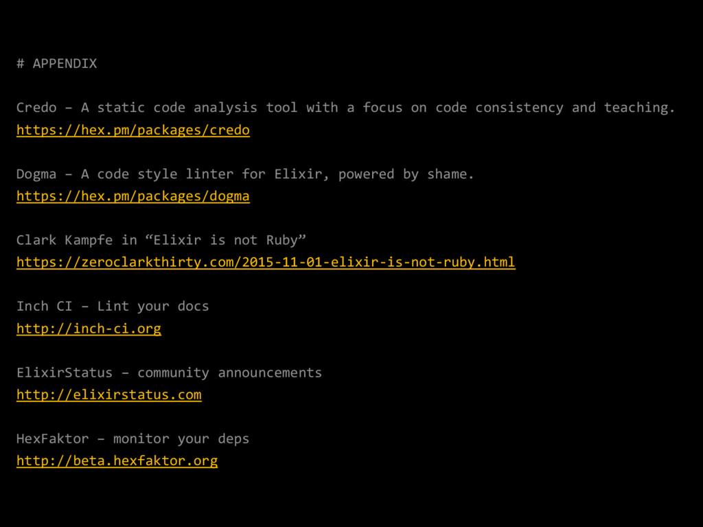 # APPENDIX Credo – A static code analysis tool ...