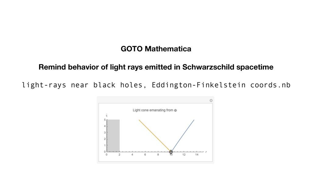 GOTO Mathematica Remind behavior of light rays ...