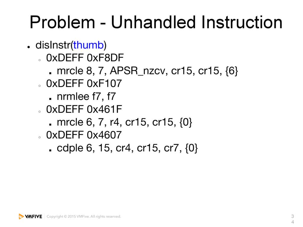3 4 Problem - Unhandled Instruction ● disInstr(...