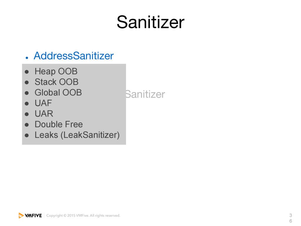 3 6 Sanitizer ● AddressSanitizer ● MemorySaniti...