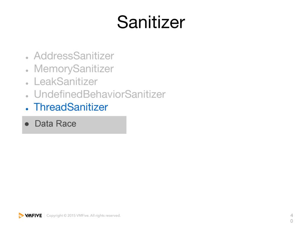 4 0 Sanitizer ● AddressSanitizer ● MemorySaniti...