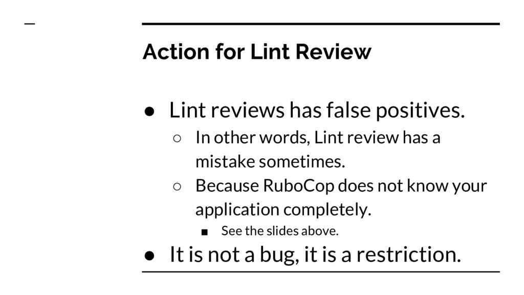 Action for Lint Review ● Lint reviews has false...