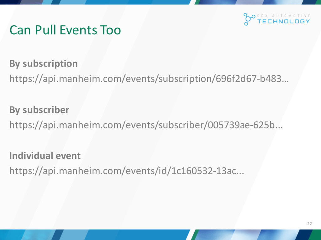 22 Can Pull Events Too By subscription