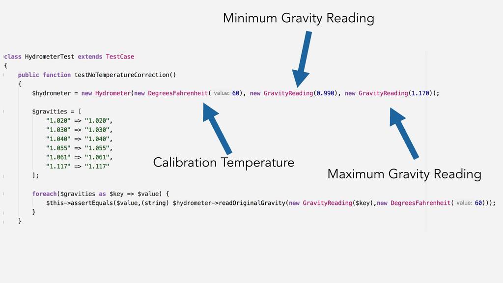 Calibration Temperature Minimum Gravity Reading...