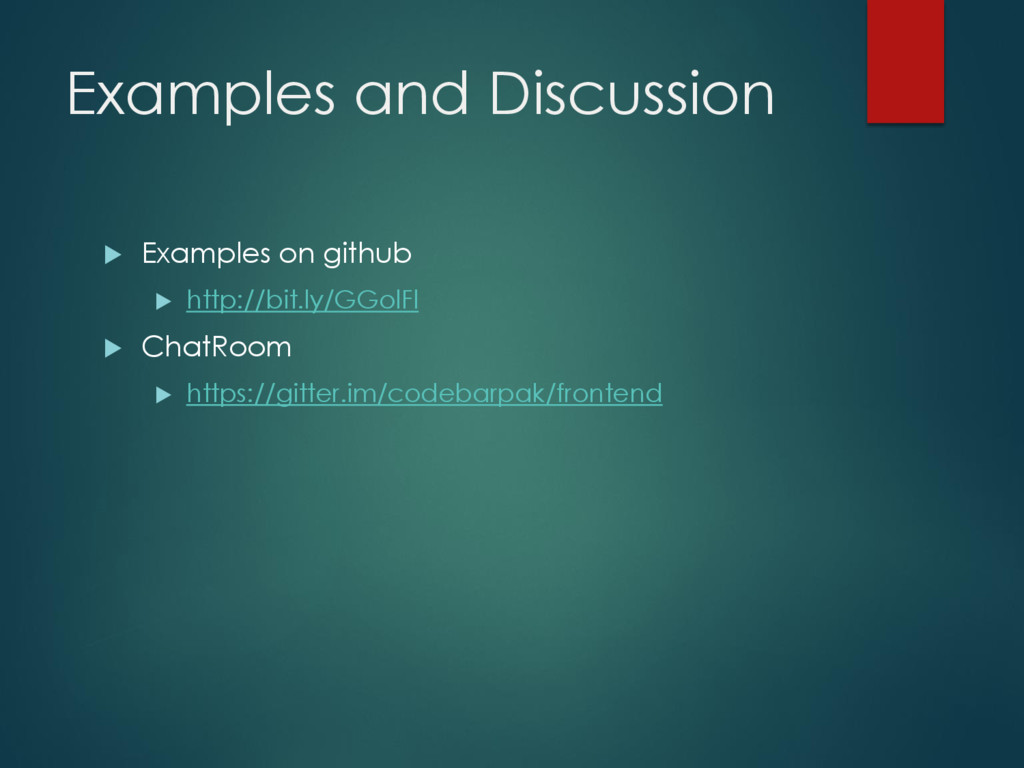 Examples and Discussion  Examples on github  ...