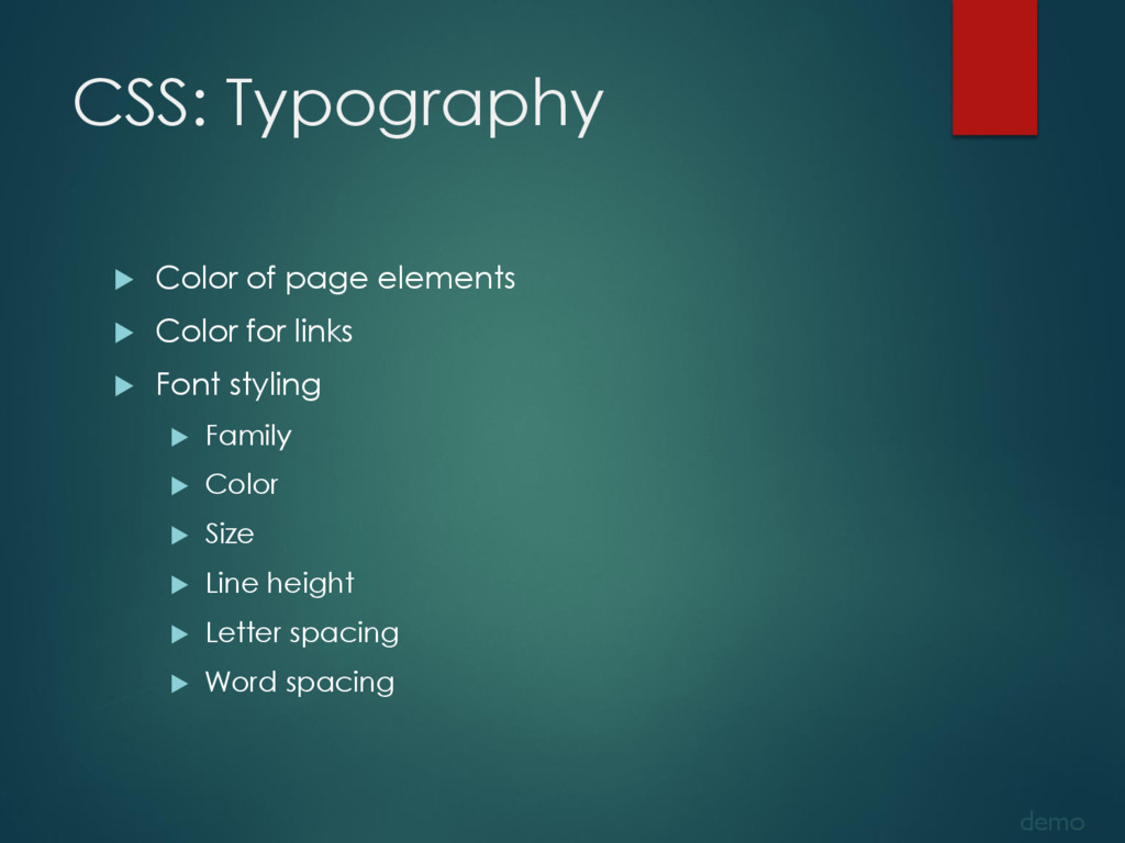 CSS: Typography  Color of page elements  Colo...