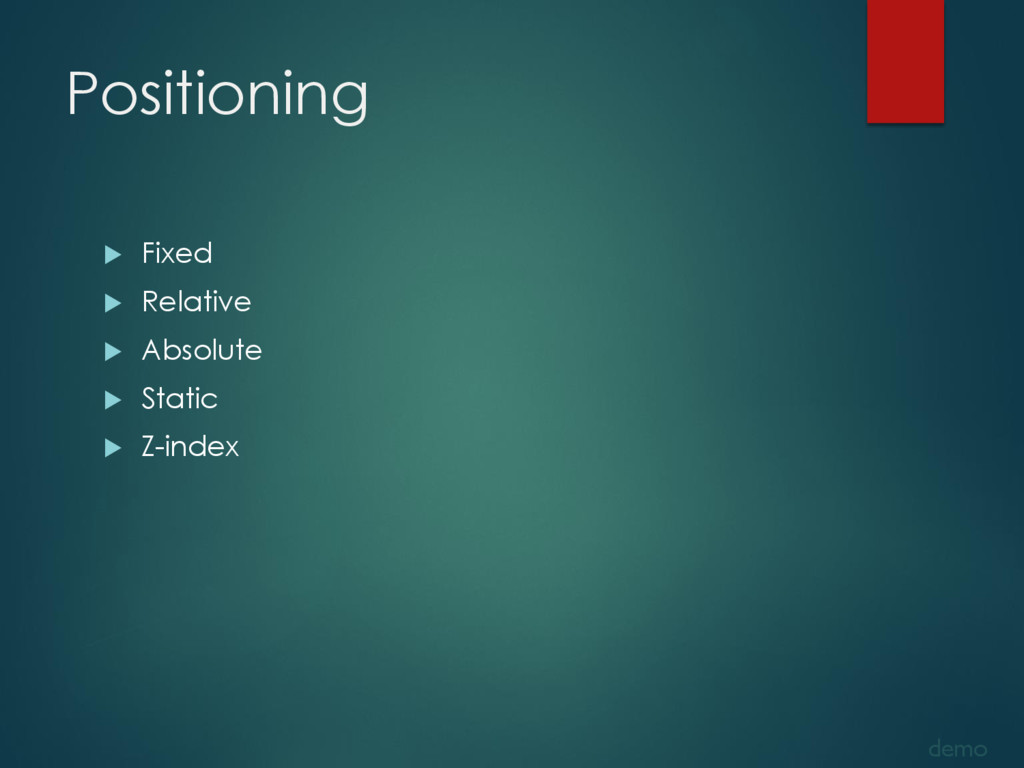 Positioning  Fixed  Relative  Absolute  Sta...